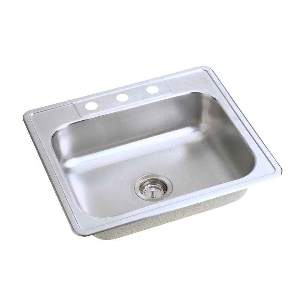 elkay kitchen sinks island amazon dayton drop in stainless steel 25 x 23 3 hole single bowl sink