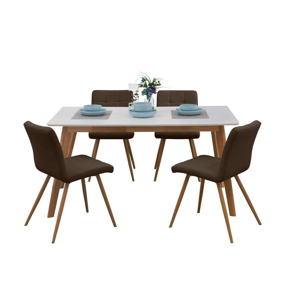 chocolate brown living room chairs portable handy windsor 5 piece dining set w white topped rectangle table and armless upholstered in linen 123 lin87 374w4 the