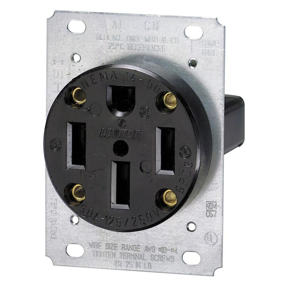 medium resolution of leviton 50 amp flush mount shallow single outlet black r10 00279 any electricians in the house wiring your nema 1450 gang plug