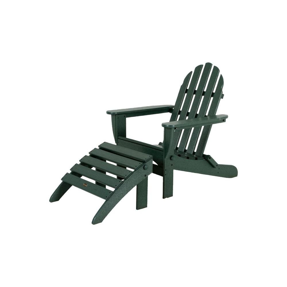 poly wood adirondack chairs big lots accent polywood classic green plastic patio chair pws136 1 gr the home depot