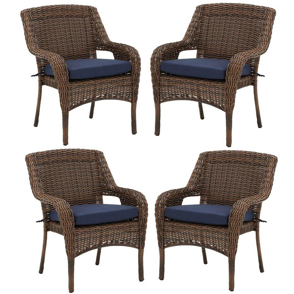 Wicker Outdoor Dining Chairs Hampton Bay Cambridge Brown Resin Wicker Outdoor Dining Chairs With Blue Cushions 4 Pack