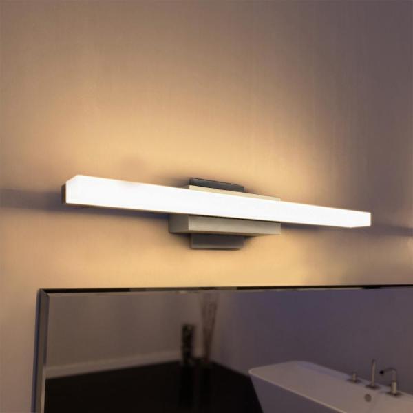 modern led bathroom lighting VONN Lighting Procyon Collection 23 in. Silver/Nickel Low Profile Modern LED Bathroom and Vanity