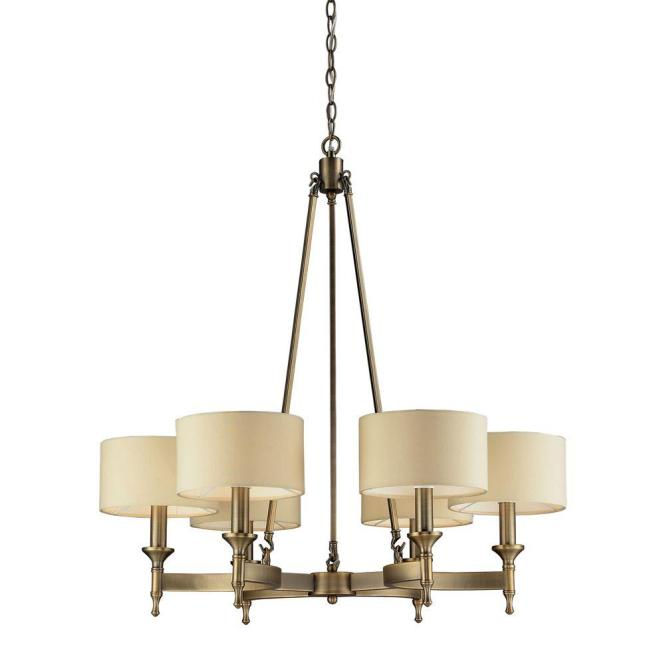 An Lighting Pembroke 6 Light Antique Brass Chandelier With Tan Fabric Shades