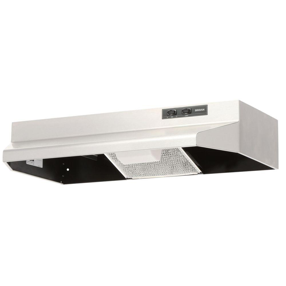 broan kitchen exhaust fan shallow cabinets 40000 series 30 in under cabinet range hood with light stainless steel