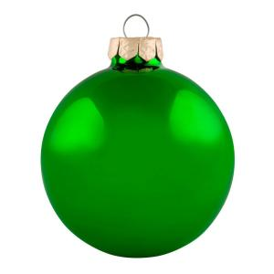 Whitehurst 2 75 In Green Shiny Glass Christmas Ornaments 12 Pack 27973 The Home Depot
