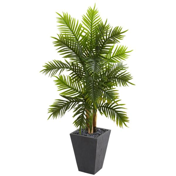 Natural Indoor 5.5 Ft. Areca Palm Artificial Tree In Slate Finished Planter Real Touch