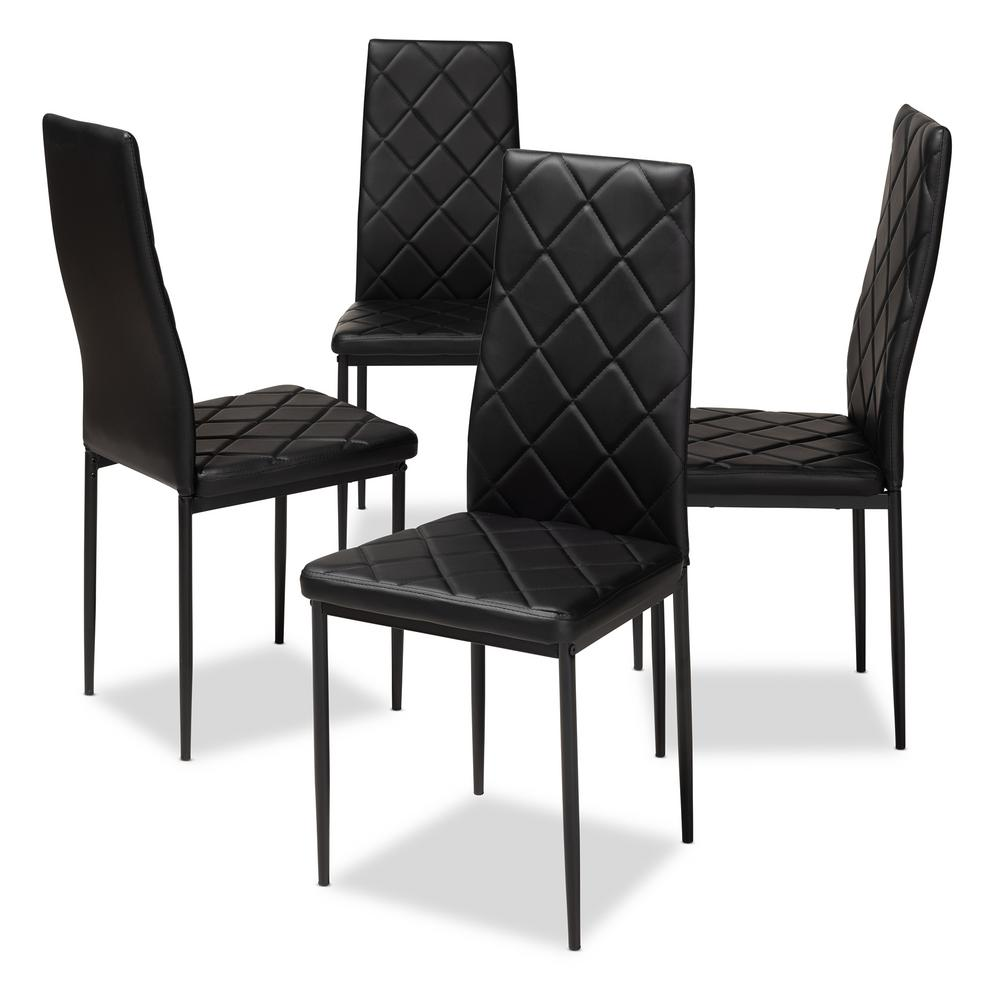 Baxton Studio Blaise Black Faux Leather Upholstered Dining
