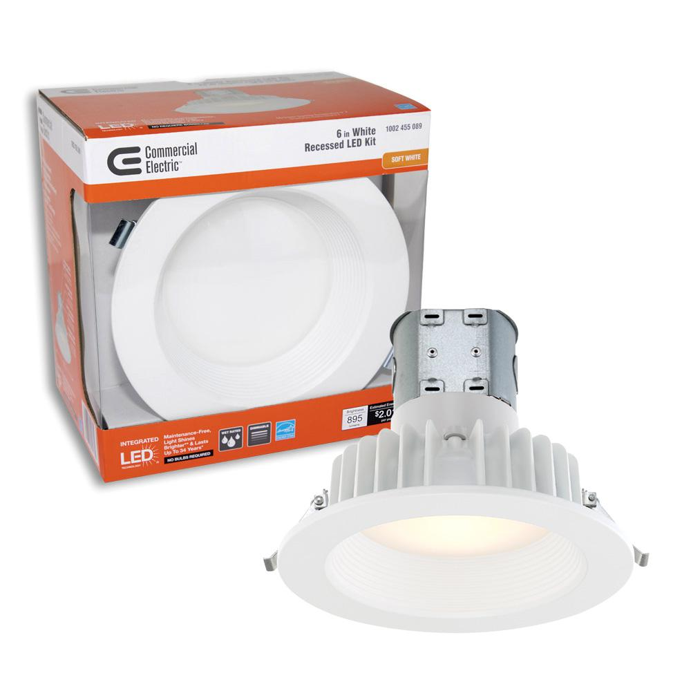medium resolution of commercial electric easy up 6 in white baffle integrated led recessed kit at 91