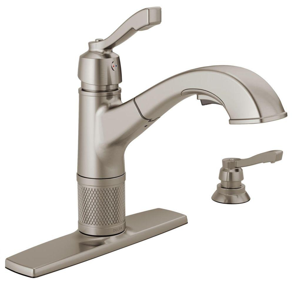 dispenser kitchen light covers delta allentown single handle pull out sprayer faucet with soap in stainless