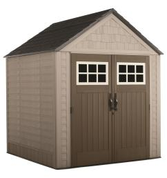 rubbermaid big max 7 ft x 7 ft storage shed 2035892 the home depot storage shed with flat roof diagram [ 1000 x 1000 Pixel ]