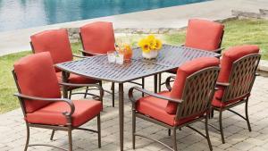 Hampton Bay Oak Cliff 7 Piece Metal Outdoor Dining Set