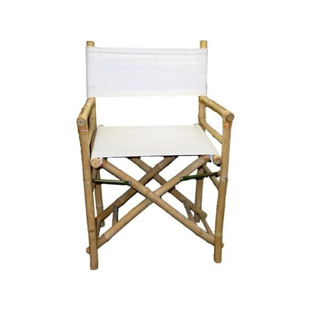 Bamboo Chairs Mgp 19 In L 23 In W 35 In H Bamboo Director Chairs White Canvas Set Of 2