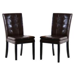 Leather Tufted Dining Chair Posture Perfect Company Noble House Crayton Chocolate Brown Set Of 2