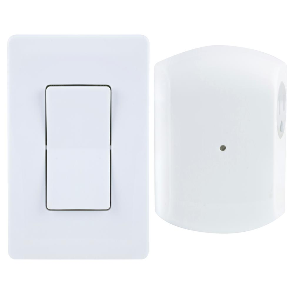hight resolution of wireless remote wall switch light control with grounded outlet receiver