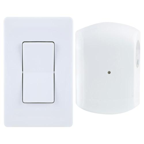 small resolution of wireless remote wall switch light control with grounded outlet receiver