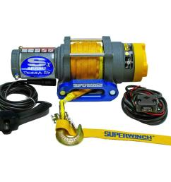 superwinch terra series 25sr 12 volt dc atv winch with hawse fairlead and synthetic rope [ 1000 x 1000 Pixel ]