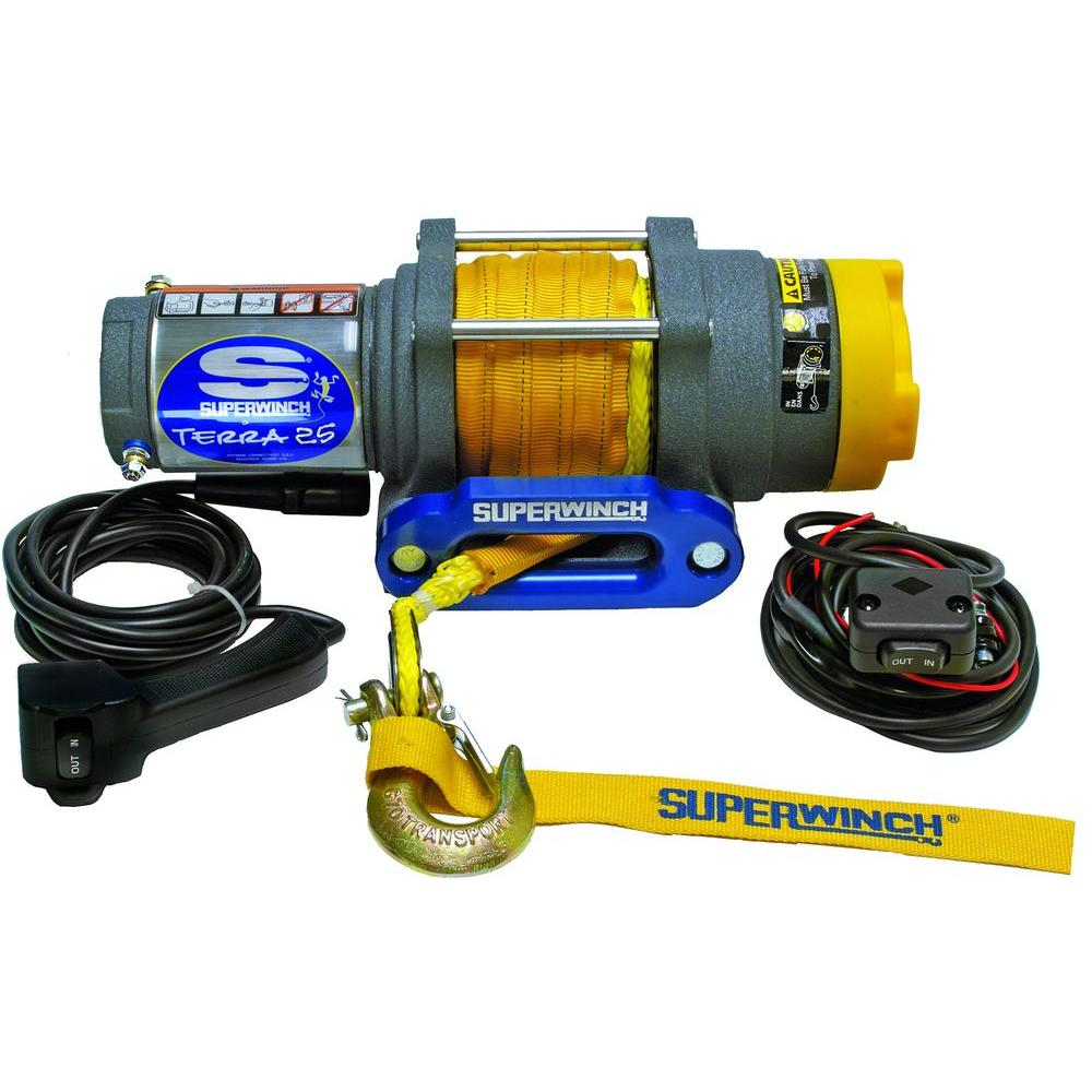 medium resolution of superwinch terra series 25sr 12 volt dc atv winch with hawse fairlead and synthetic rope