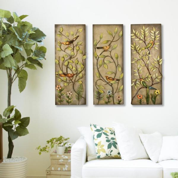 Multicolored Rectangular Leaf Metal Work Wall Decor-2154