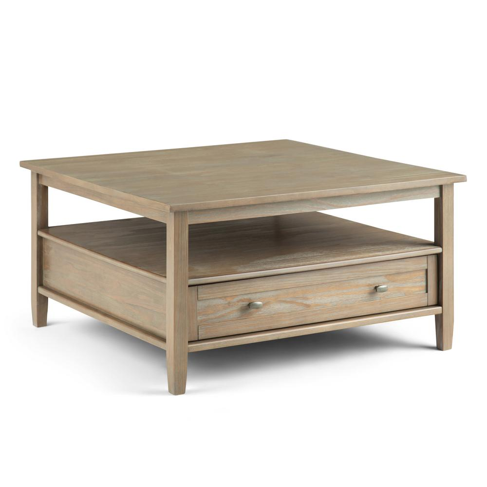 simpli home warm shaker 36 in distressed gray medium square wood coffee table with drawers axwsh012 gr the home depot