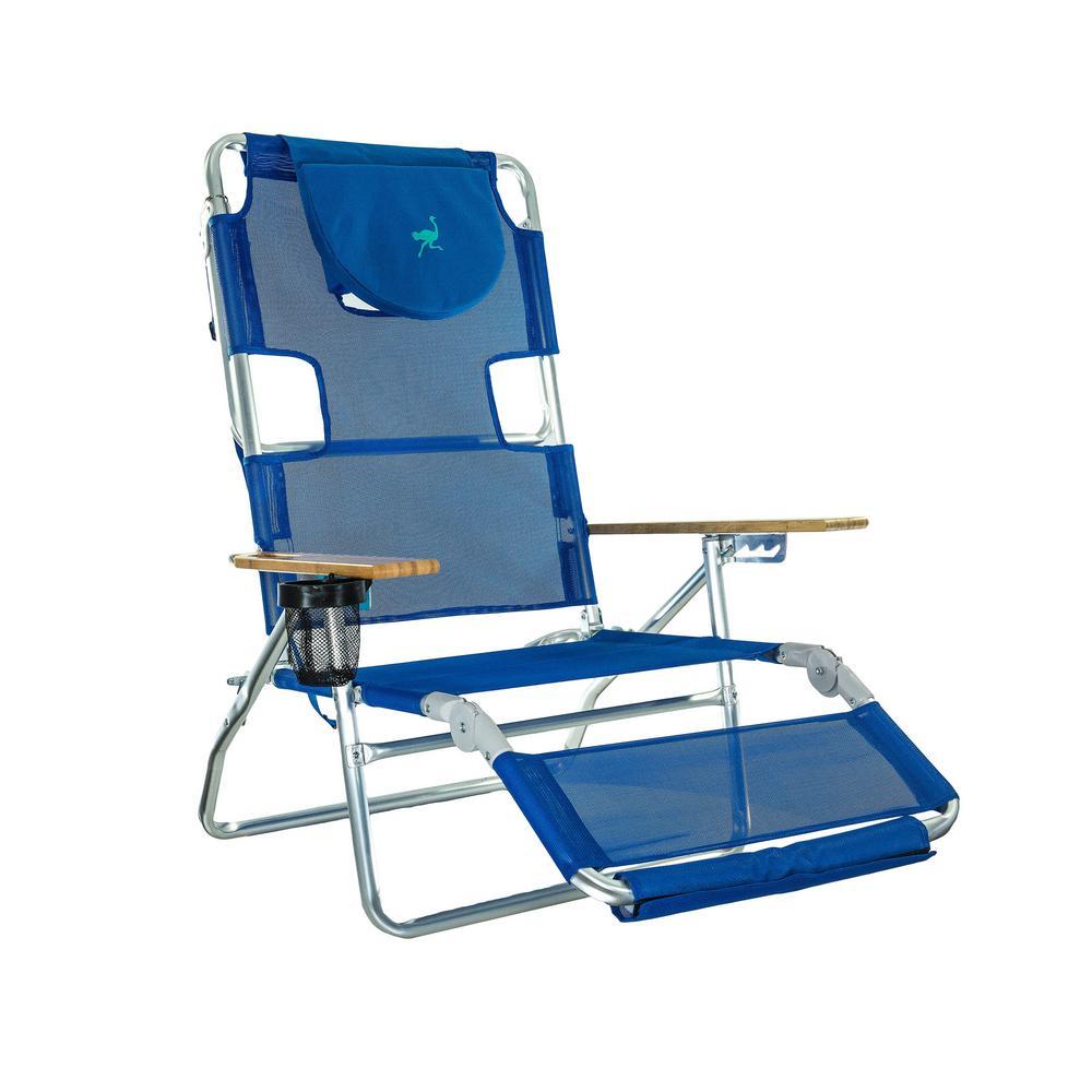 Deltess Ostrich 3in1 Blue Aluminum Folding Beach Chair