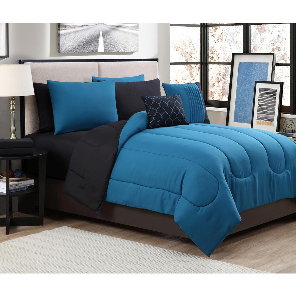 geneva home fashion 9 piece solid teal black queen comforter set sol9pcquenghtl the home depot