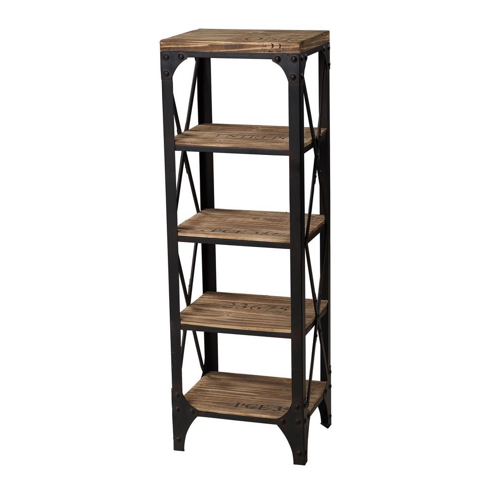 Titan Lighting 5 Shelf Industrial Wood And Iron Shelving