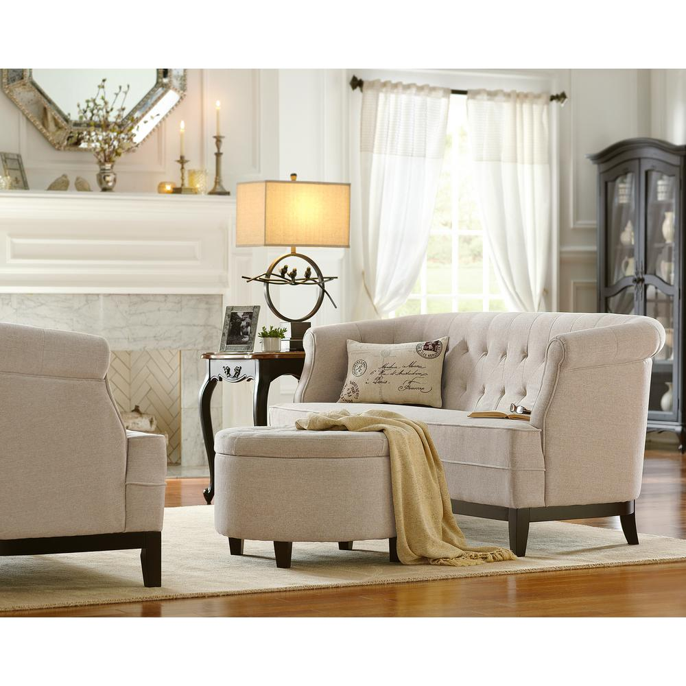 Home Decorators Collection Emma Textured Natural Chenille Loveseat0280700950  The Home Depot