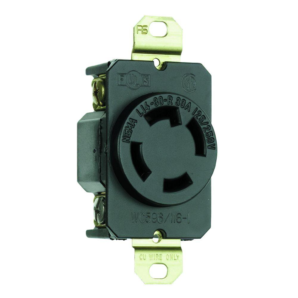 hight resolution of 30 amp self grounding locking single outlet receptacle black