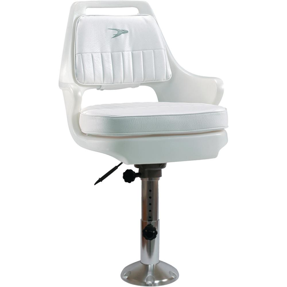 Pedestal Chair Wise Standard 12 In To 18 In Pilot Chair Package With Chair Cushions Adjustable Pedestal And Seat Slide White