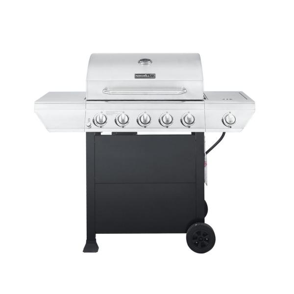 Nexgrill 5-burner Propane Gas Grill In Stainless Steel With Side Burner And Black Panel-720