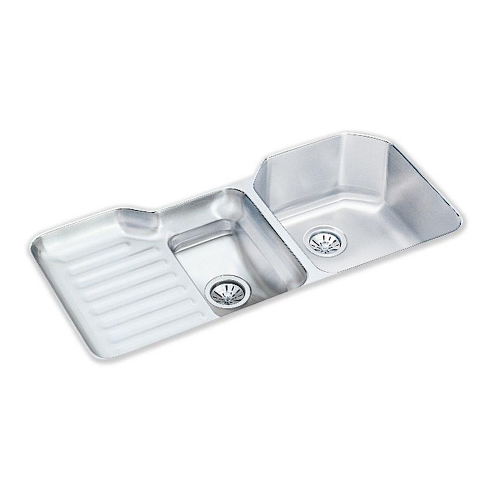 elkay kitchen sinks tile backsplashes lustertone undermount stainless steel 42 in double bowl sink with left drain board