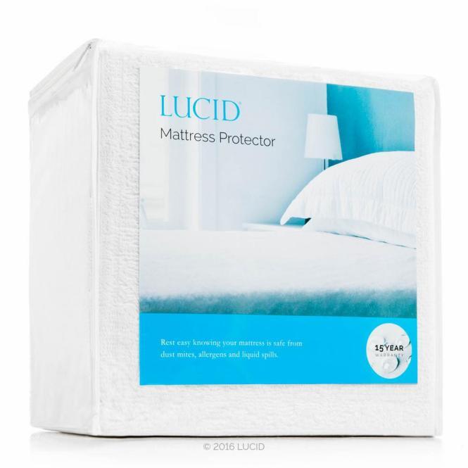 Lucid Premium Hypoallergenic 100 Waterproof Vinyl Free Mattress Protector Cal King