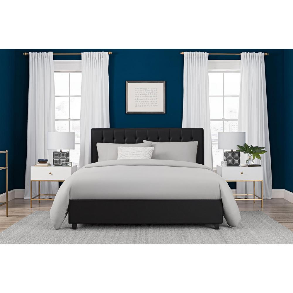 DHP Emily Black Upholstered Faux Leather Full Size Bed Frame4107029  The Home Depot