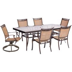 Best Outdoor Dining Chairs Hanging High Chair Hanover Fontana 7 Piece Aluminum Set With Rectangular Glass Top Table And