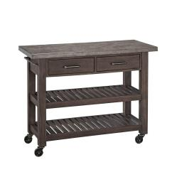 Home Styles Kitchen Cart Ceramic Tile Concrete Chic Brown With Top 5134