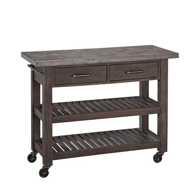 home styles concrete chic brown kitchen cart with concrete top-5134