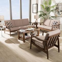 Walnut Furniture Living Room American Freight Sets Baxton Studio Venza 3 Piece Light Brown And Set