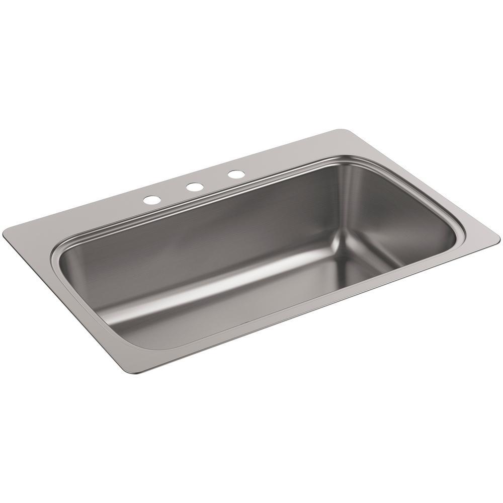 3 basin kitchen sink montessori tools kohler verse drop in stainless steel 33 hole single