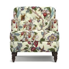 Floral Arm Chair Swivel Living Room Chairs Handy Simona Petite In Textured Linen Like Neutral Multi Pattern With Birds