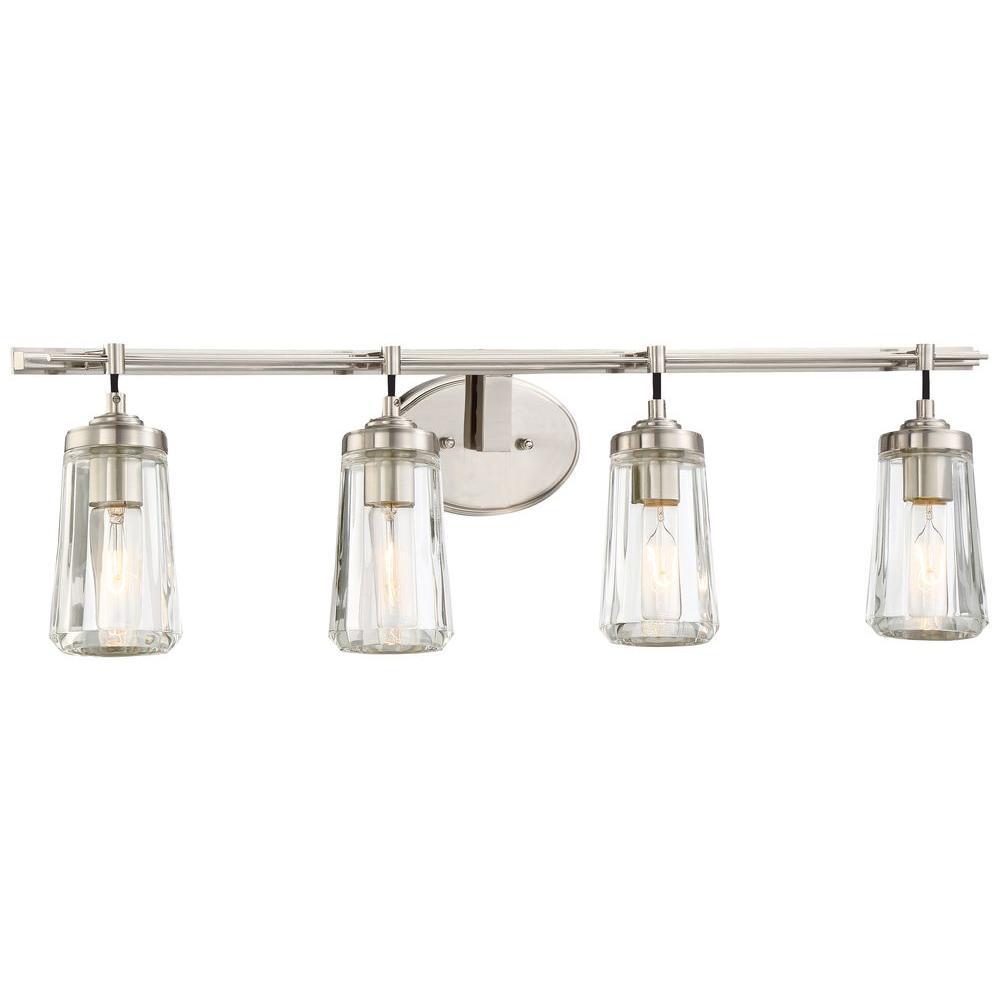 Minka Lavery Poleis 4 Light Brushed Nickel Bath Light 2304 84 The Home Depot