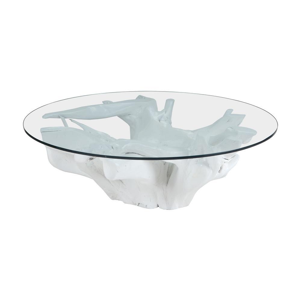 Titan Lighting Teak Root White Coffee Table