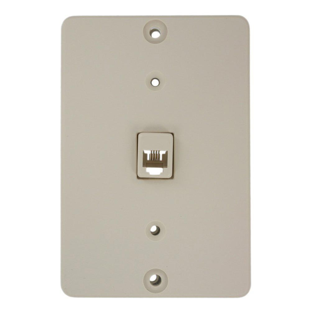 medium resolution of leviton telephone wall jack light almond 40253 t the home depot leviton telephone wall jack light