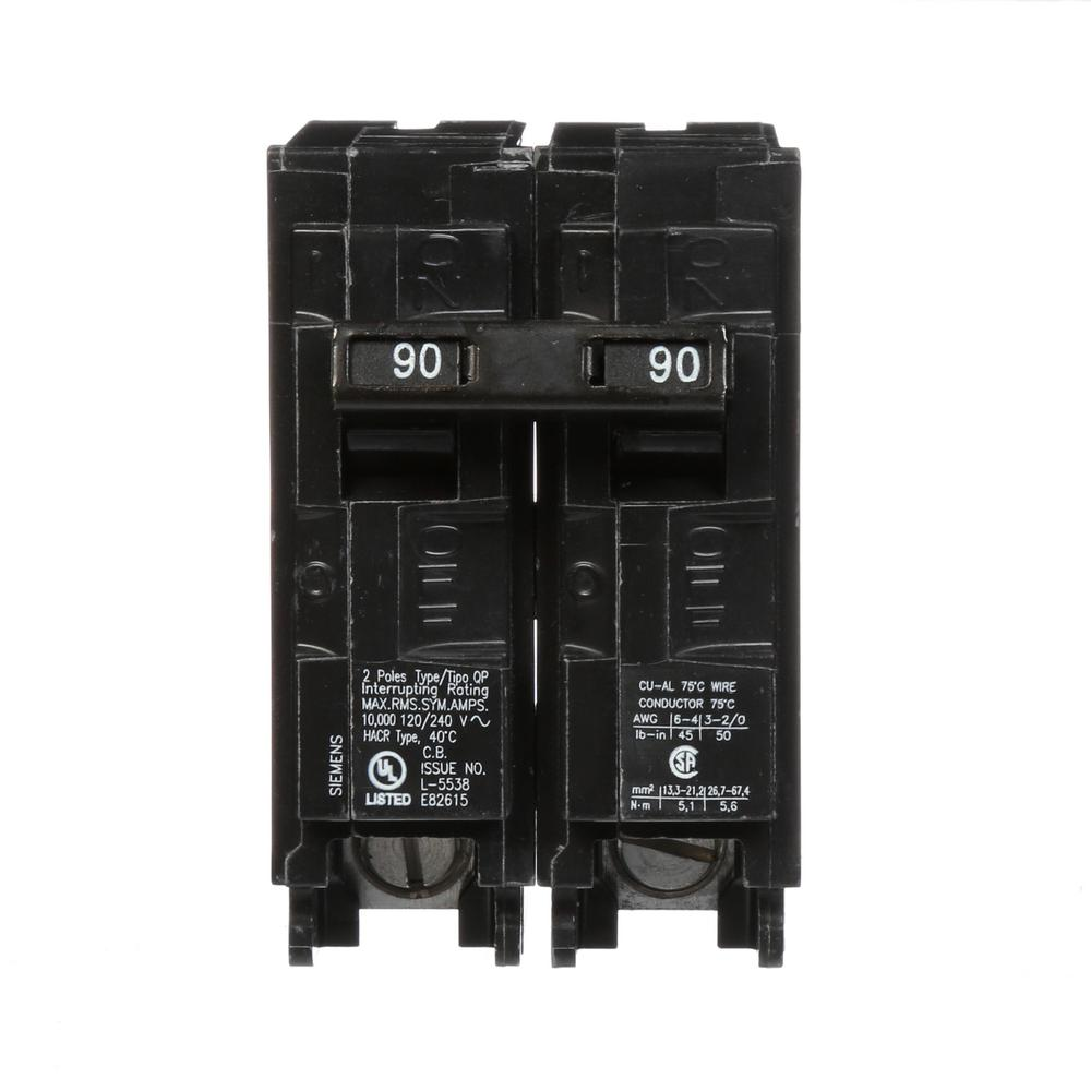 medium resolution of siemens 90 amp double pole type qp circuit breaker