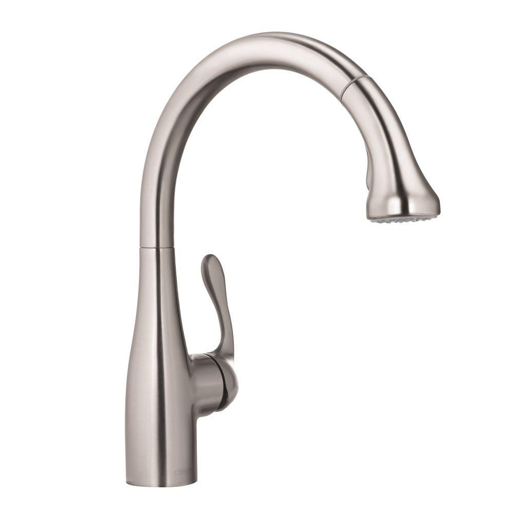 hansgrohe kitchen faucet on a budget faucets the home depot allegro e single handle pull out sprayer in steel optik