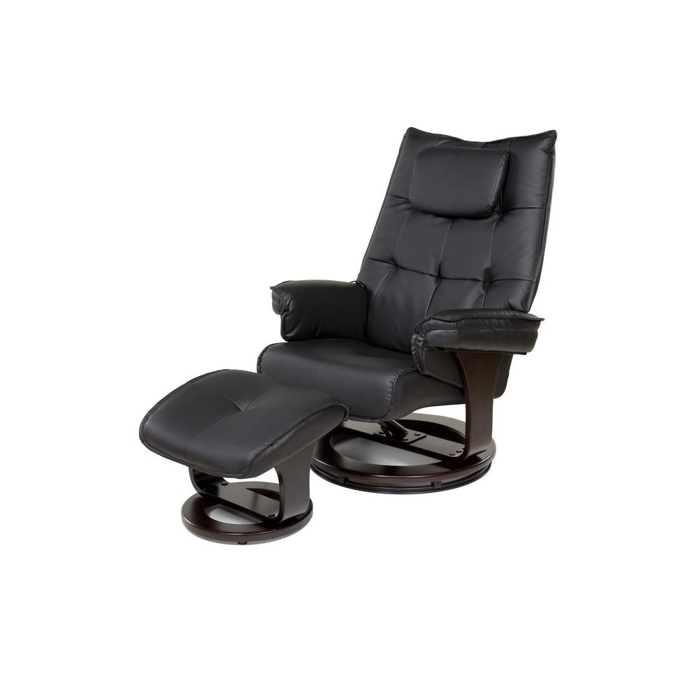 black chair and ottoman quilted cushions relaxzen 8 motor massage recliner with lumbar heat