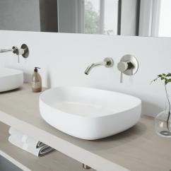 Vigo Kitchen Sinks American Plastic Toys Custom Peony Matte Stone Vessel Sink In White With Olus Wall ...