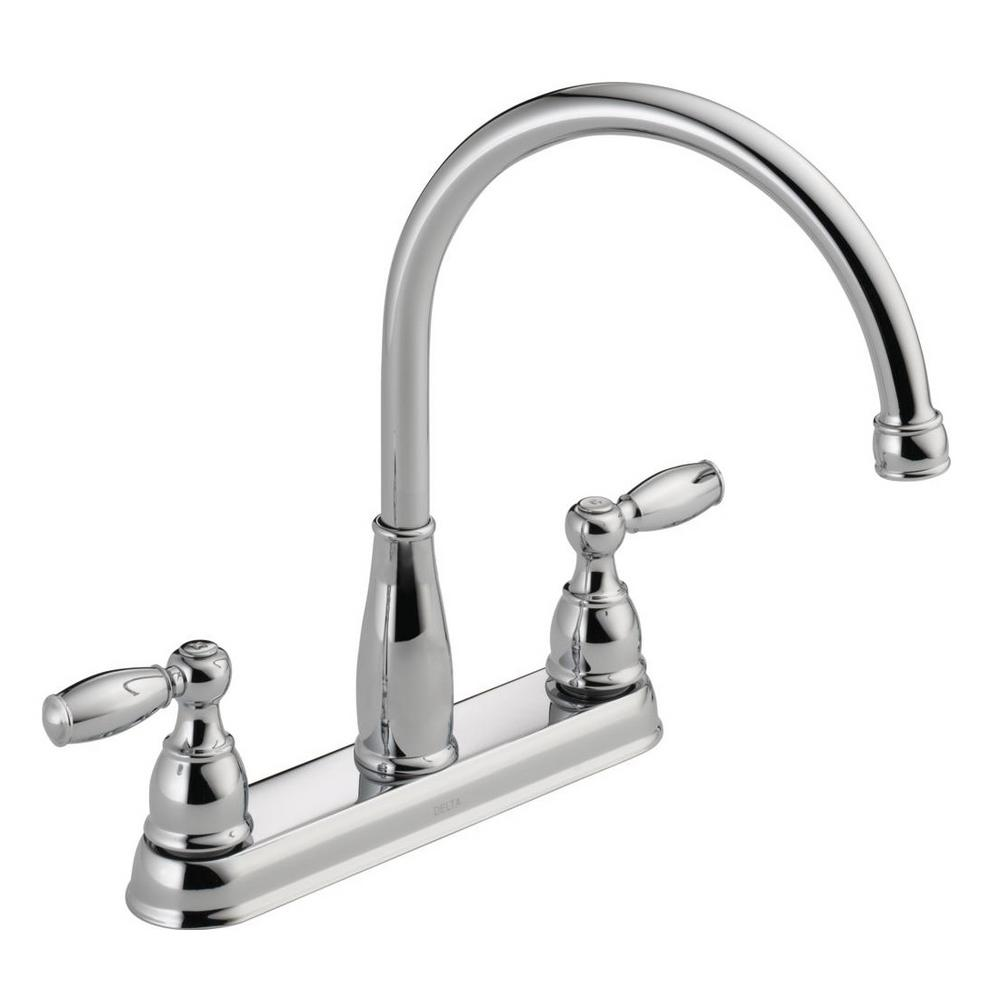 kitchen faucet redo countertops delta foundations 2 handle standard in chrome 21987lf