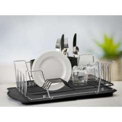 Kitchen Sink Rack Menu Chalkboard Dish Racks Organizers The Home Depot Contemporary 3 Piece Chrome