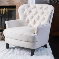 Tafton Club Chair Chairs For Bedroom Noble House Ivory Fabric Tufted 296469 The Home