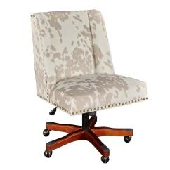 Cow Print Chair Desk Login Linon Home Decor Dennis Walnut Linen Office Thd00731